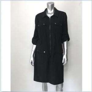 Sharagano Dress  Zipper Shirt Dress 3/4 Sleeve A